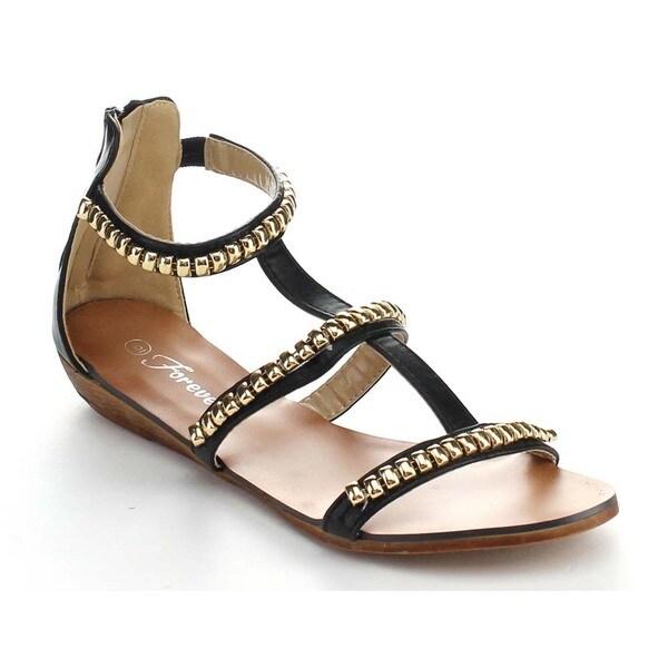 Forever Rebel-16 Women's Gladiator T-Strap Back Zipper Sandals