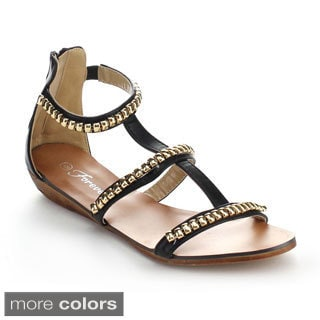 Forever Rebel-16 Women's Gladiator T-Strap Back Zipper Sandals
