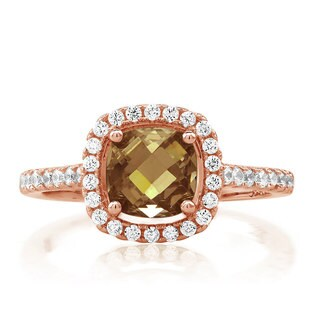 Rose Goldplated Sterling Silver Cushion-cut Smoky Topaz Cubic Zirconia Ring