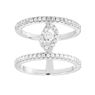 Sterling Silver Cubic Zirconia Double-row Eye Ring