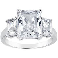Rhodium-plated Emerald-cut Cubic Zirconia Engagement Ring