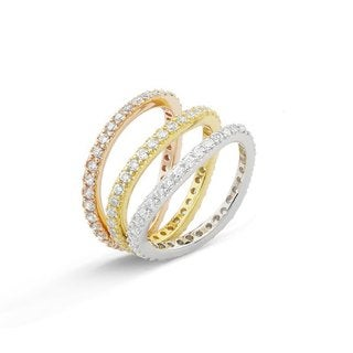 Rhodium-plated Eternity Cubic Zirconia 3-piece Ring Set