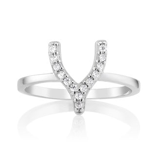 Sterling Silver Cubic Zirconia Wishbone Midi Ring