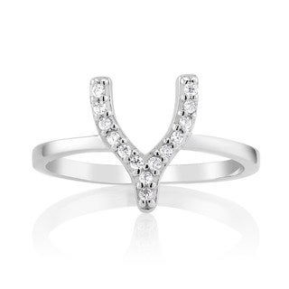 Sterling Silver Cubic Zirconia Wishbone Midi Ring (Option: 2)