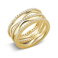 Goldplated Sterling Silver Micropave Cubic Zirconia Wavy Ring