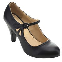 Chase & Chloe Kmmy-21 Women's Round Toe Pierced Mid Heel Mary Jane Dress Pumps
