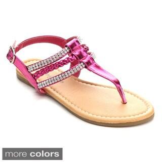 Sunny Day Sierra-1 Girls' Classic Rhinestone T-Strap Buckled Slingback Sandal