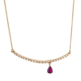 Diamonds for a Cure 14k Rose Gold 1/10ct TDW Diamond and Rhodolite Garnet Bar Necklace (H-I, I1-I2)