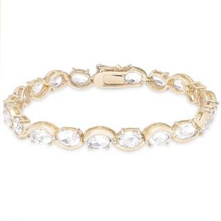 Dolce Giavonna Gold Over Sterling Silver White Topaz Oval Link Bracelet