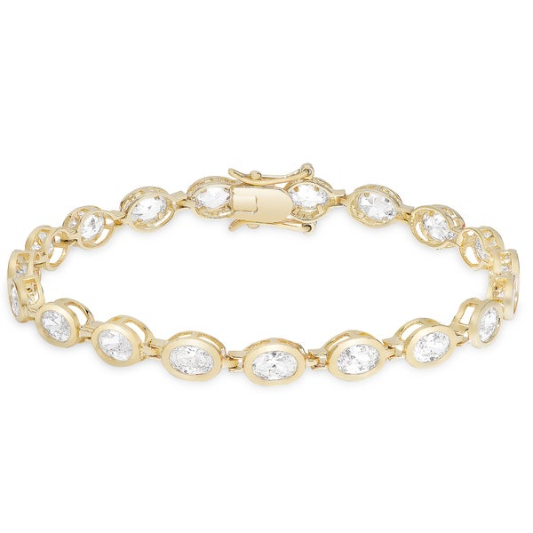Dolce Giavonna Gold Or Silver Overlay Cubic Zirconia Oval Link Bracelet