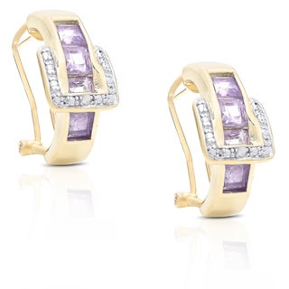 Link to Dolce Giavonna Gold Over Sterling Silver Diamond Accent and Gemstone Buckle Design Earrings Similar Items in Earrings
