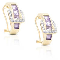Dolce Giavonna Gold Over Sterling Silver Diamond Accent and Gemstone Buckle Design Earrings