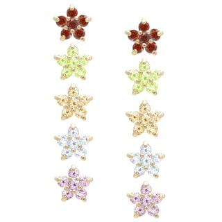 Dolce Giavonna Gold Over Sterling Silver Gemstone Flower Stud Earrings Set