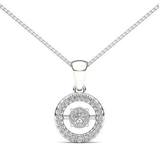 De Couer 10k White Gold 1/6ct TDW Diamond Heart Beat Fashion Necklace - White H-I