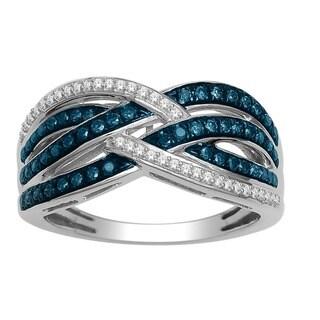 De Couer 10k White Gold 1/2ct TDW Blue and White Diamond Criss-Cross Fashion Ring - White H-I