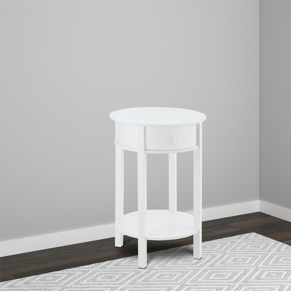 Avenue Greene Adams White Round End Table Free Shipping