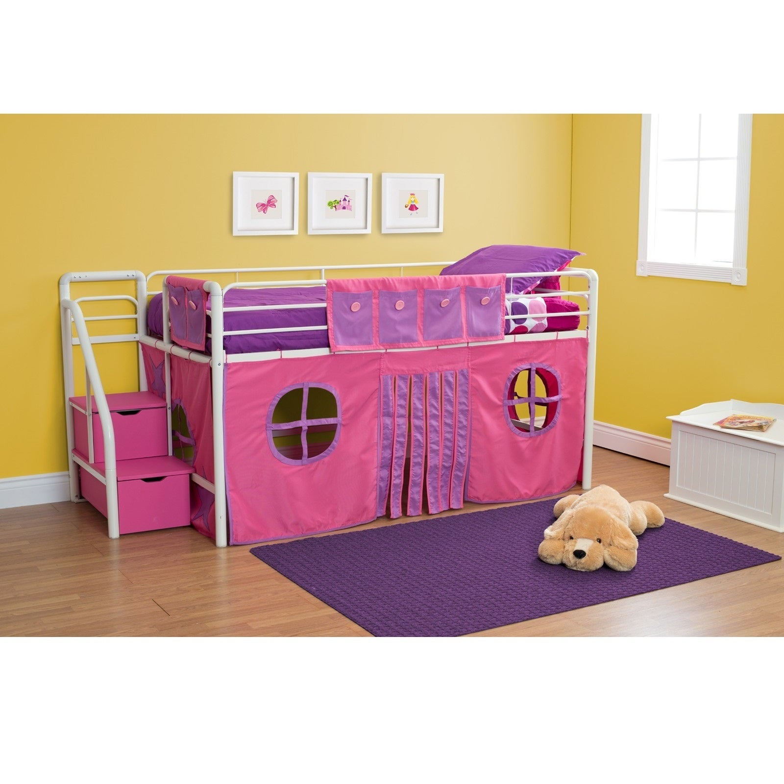 DHP Curtain Set for Loft Bed (Pink Curtain Set) (Polyeste...