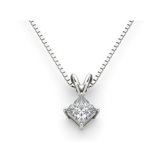 De Couer 14k White Gold Diamond Princess-Cut Diamond Solitaire Necklace - White H-I