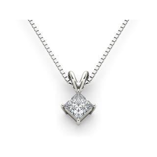 Princess diamond necklaces for less overstock de couer 14k white gold diamond princess cut diamond solitaire necklace white h i aloadofball Images