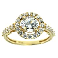 Michael Valitutti Gold Cubic Zirconia Halo Ring