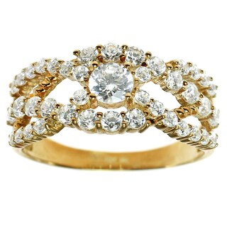 Michael Valitutti Gold Cubic Zirconia Ring
