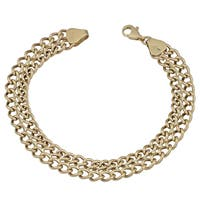 Fremada 14k Yellow Gold High Polish Double Row Curb Link Bracelet