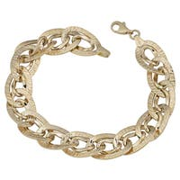 Fremada 14k Yellow Gold Diamond-cut and High Polish Fancy Double Oval Link Bracelet