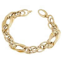 Fremada 14k Yellow Gold High Polish Fancy Oval Links Bracelet