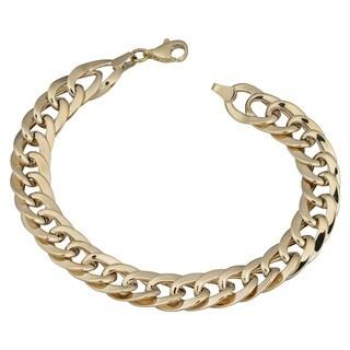 Fremada 14k Yellow Gold Bold Flat Link Bracelet (7.5 inches)