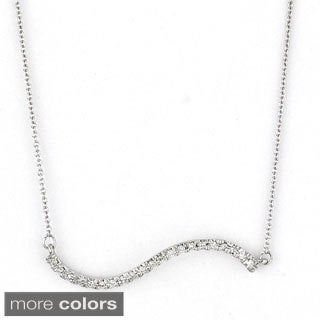 Diamonds for a Cure 14k Gold Diamond Accent Wave Bar Necklace