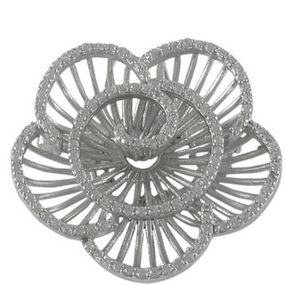 Luxiro Sterling Silver Cubic Zirconia Radial Flower Brooch (Option: Tri-Color)