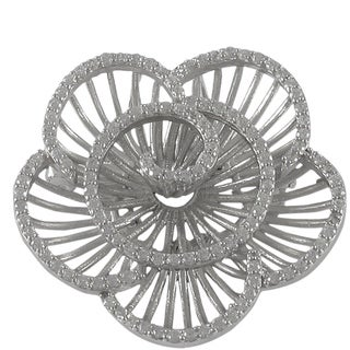 Luxiro Sterling Silver Cubic Zirconia Radial Flower Brooch