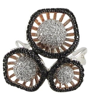 Luxiro Tri-color Sterling Silver Pave Cubic Zirconia Cocktail Right Hand Ring