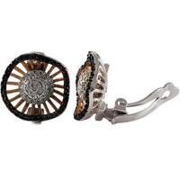 Luxiro Tri-color Sterling Silver Pave Cubic Zirconia Circle Clip-on Earrings