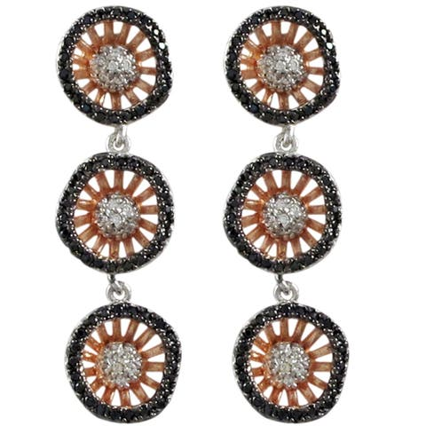 Luxiro Tri-color Sterling Silver Cubic Zirconia Circles Dangle Earrings
