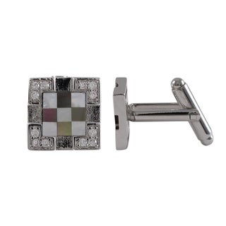 Luxiro Rhodium Finish Cubic Zirconia and Mother of Pearl Checkerboard Cuff Links