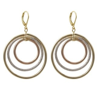 Luxiro Tri-color Gold Finish Floating Circles Dangle Earrings