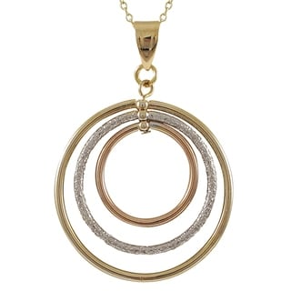 Luxiro Tri-color Gold Finish Floating Circles Pendant Necklace