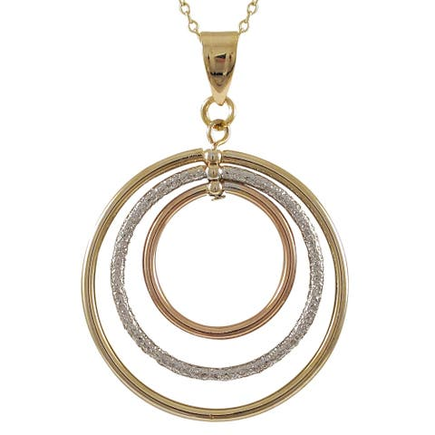 Luxiro Tri-color Gold Finish Floating Circles Pendant Necklace - Silver