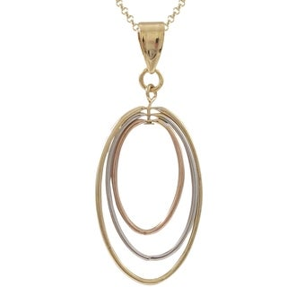 Luxiro Tri-color Gold Finish Floating Ovals Pendant Necklace