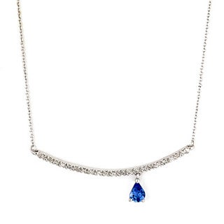 Diamonds for a Cure 14k White Gold 1/10ct TDW Diamond and Tanzanite Bar Necklace (H-I, I1-I2)