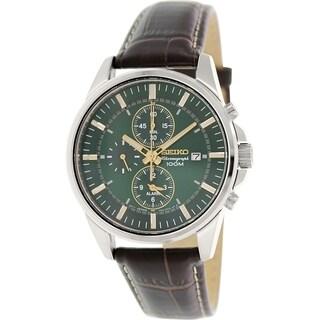 Seiko Men's Sportura SNAF09 Goldtone Leather Quartz Watch