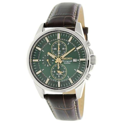 Seiko Men's Sportura Goldtone Leather Quartz Watch