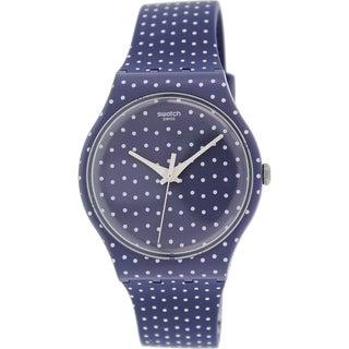 Swatch Women's Originals SUON106 Blue/ White Rubber Swiss Quartz Watch