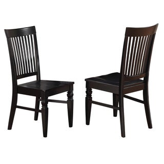 Weston Wooden Slatted Back Dining Chair in Black (As Is Item)