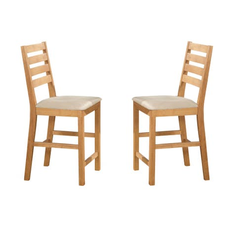 Cafe Pub Natural Oak Counter Height Stool (Set of 2)