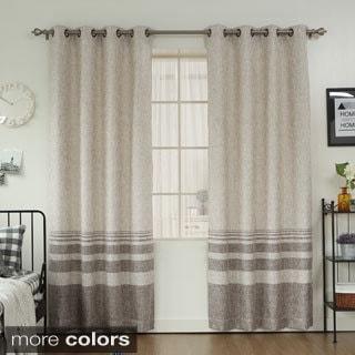 Aurora Home Striped Shimmer Taffeta Weave Grommet Curtain Panel Pair