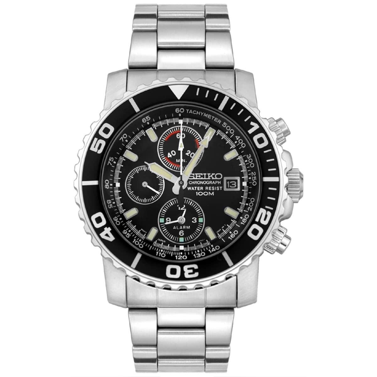 Seiko Men's SNA225 Black Stainless Steel Quartz Watch (SN...