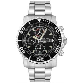 Seiko Men's SNA225 Black Stainless Steel Quartz Watch