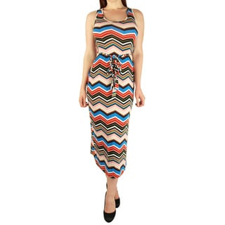 Women's Chevron Print Racerback Maxi Dress with Tie